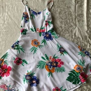 White Dress Detailed with Tropical Flowers